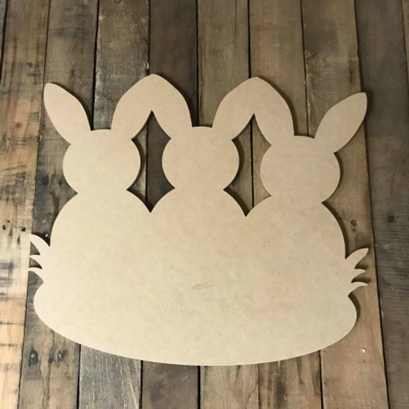 3 Bunnies, Unfinished Wood Shape, Wood Cutout