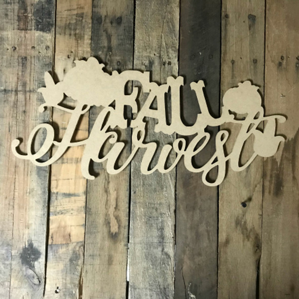 Fall Harvest Word (MDF) Cutout - Unfinished  DIY Craft