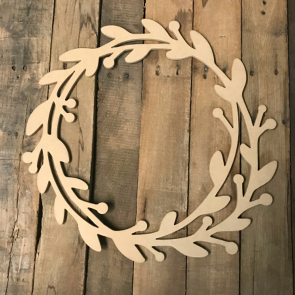 Holly Wreath (MDF) Cutout - Unfinished DIY Craft