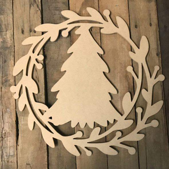 Holly Wreath with Christmas Tree  (MDF) Cutout - Unfinished DIY Craft