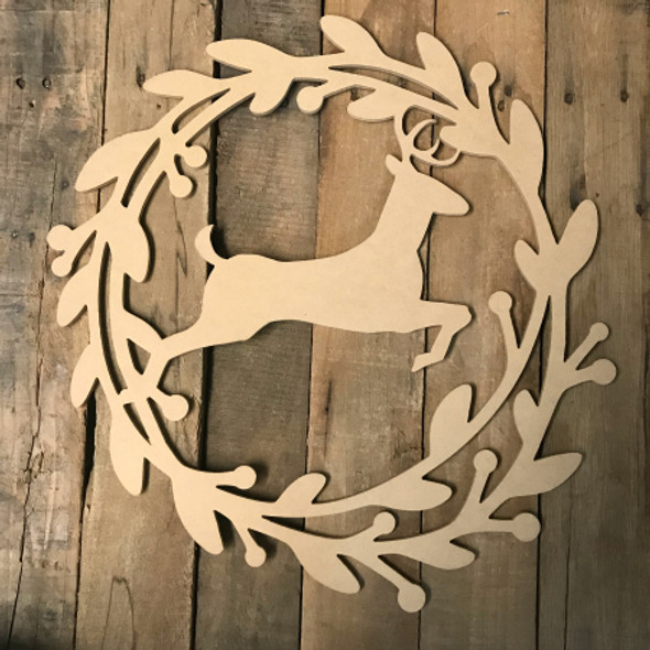Holly Wreath with Christmas Reindeer  (MDF) Cutout - Unfinished DIY