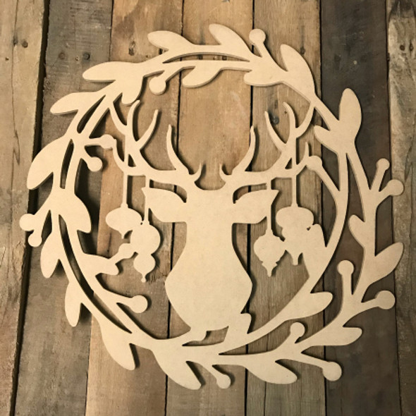 Holly Wreath with Christmas Deer and Ornaments  (MDF) Cutout