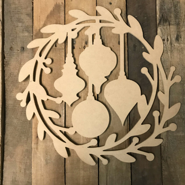 Holly Wreath with Christmas Ornaments  (MDF) Cutout