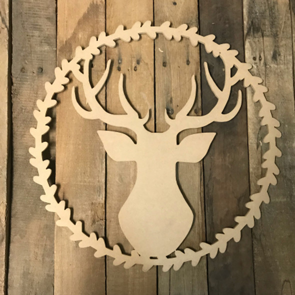 Deer Head in Wreath Cutout, Wooden Wreath Cutout