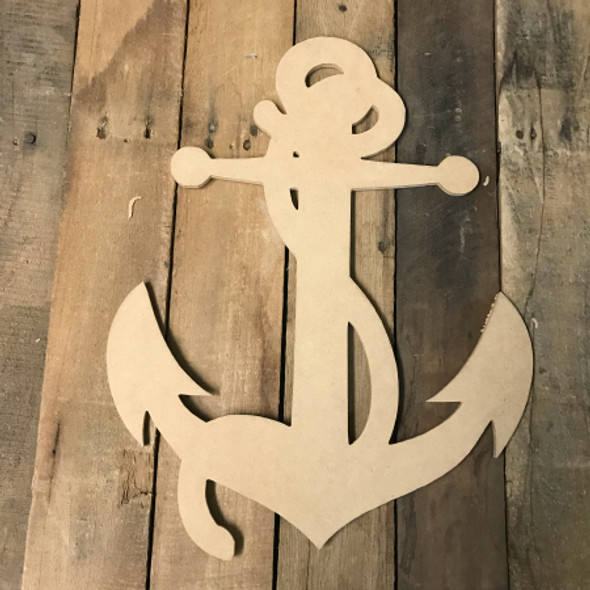 Wood Anchor with Rope Shape, Wooden Anchor Paintable Shape