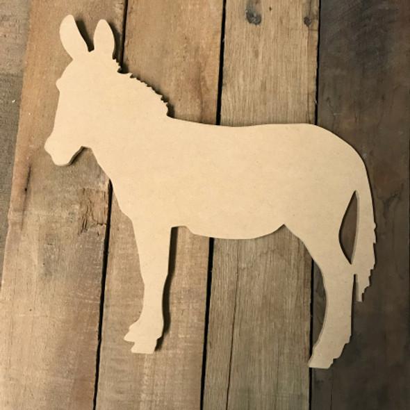 Wood MDF Donkey Cutout, Wooden Donkey Paintable Shape