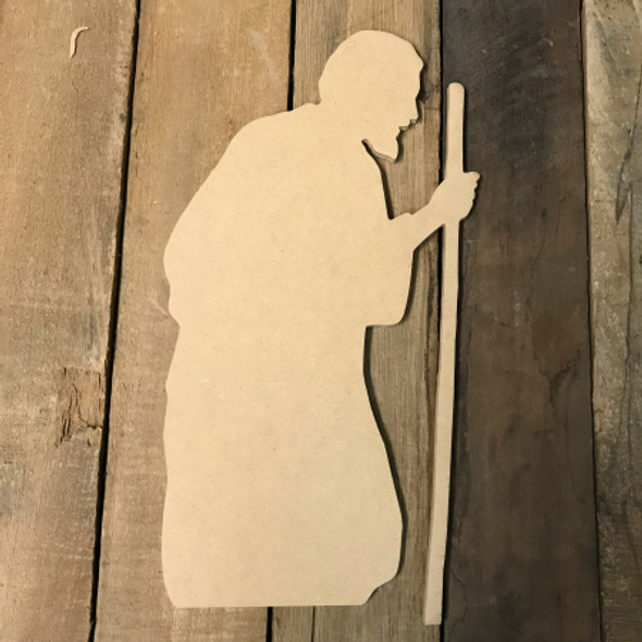 Wood MDF Wise Man Cutout, Wooden Paintable Shape