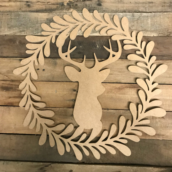 Deer in Wreath Wood DIY (MDF) Cutout - Unfinished DIY Craft