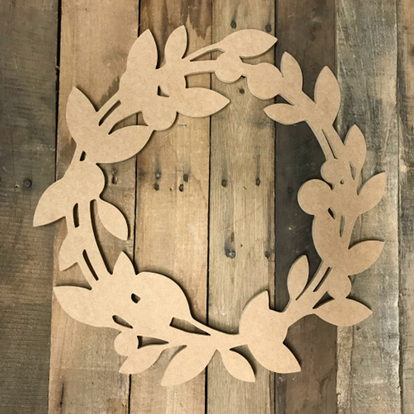 Unfinished Wood Wreath Cutout, Wood Wreath Shape, Custom Cutout