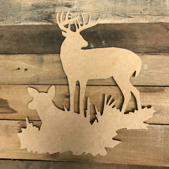 Deer with Doe Cutout, Unfinished Train Shape, DIY Wood Craft