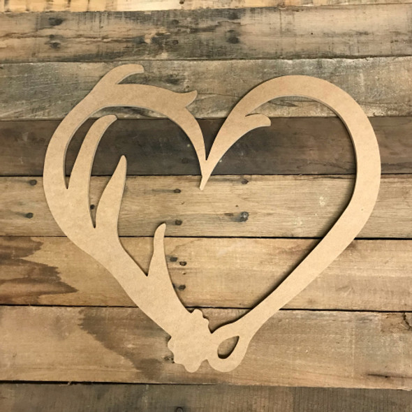 Hook and Antler Cutout, Unfinished Train Shape, DIY Wood Craft