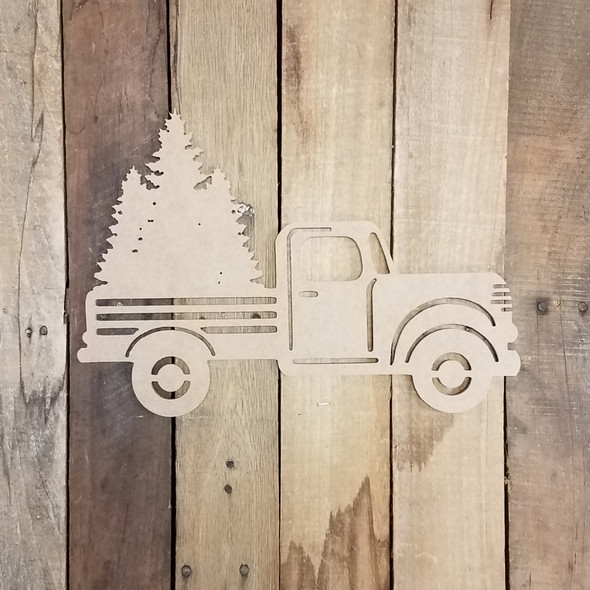 Truck with Three Trees Cutout Unfinished Wooden Cutout Craft