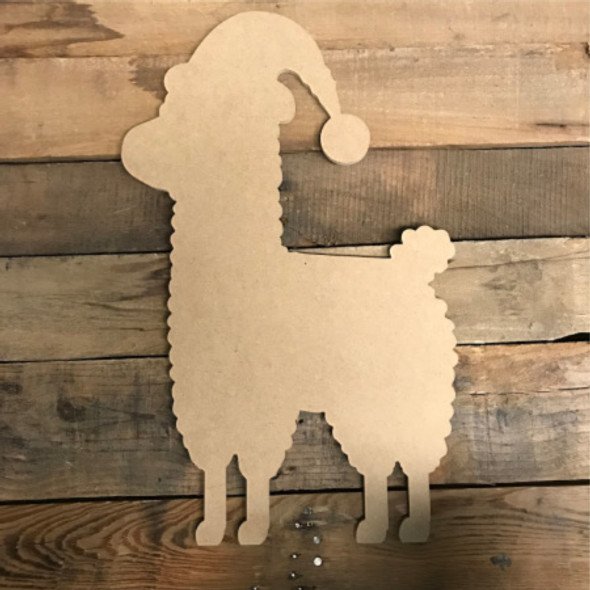 Llama With Christmas Hat, Unfinished Cutout, Craft Wood Shape