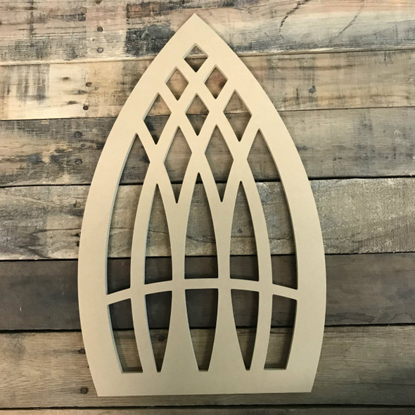 Wood Cathedral Arch Window Decor, Unfinished Wooden Cutout Craft