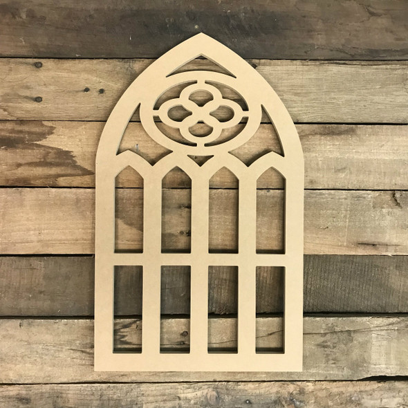 Unpainted Cathedral Arch Window Decor,  Wooden Cutout Craft
