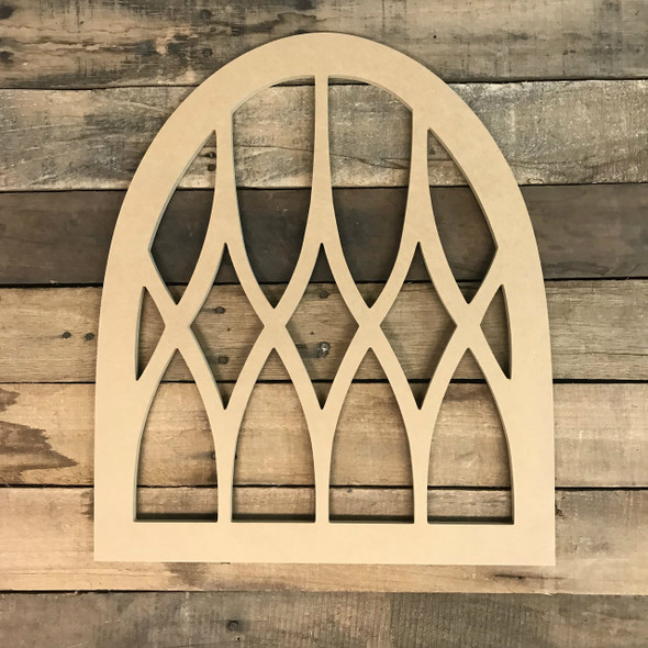 Paintable Wood Cathedral Arch Window Decor,  Wooden Cutout Craft