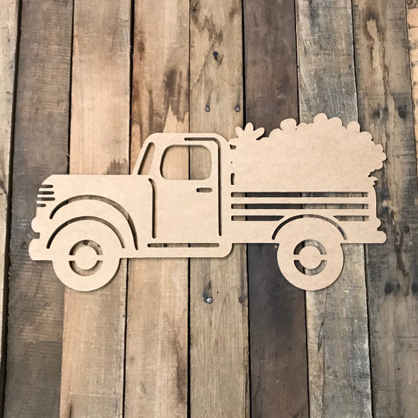 Truck with Flowers Cutout Unfinished Wooden Cutout Craft
