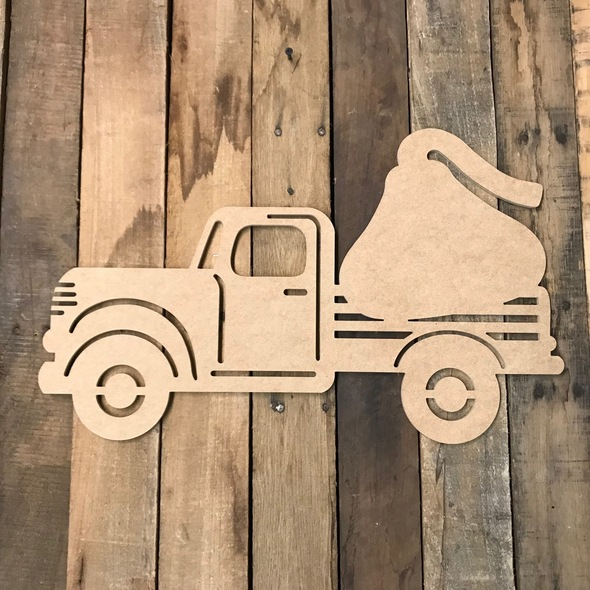 Truck with Valentine Candy Cutout Unfinished Wooden Cutout Craft