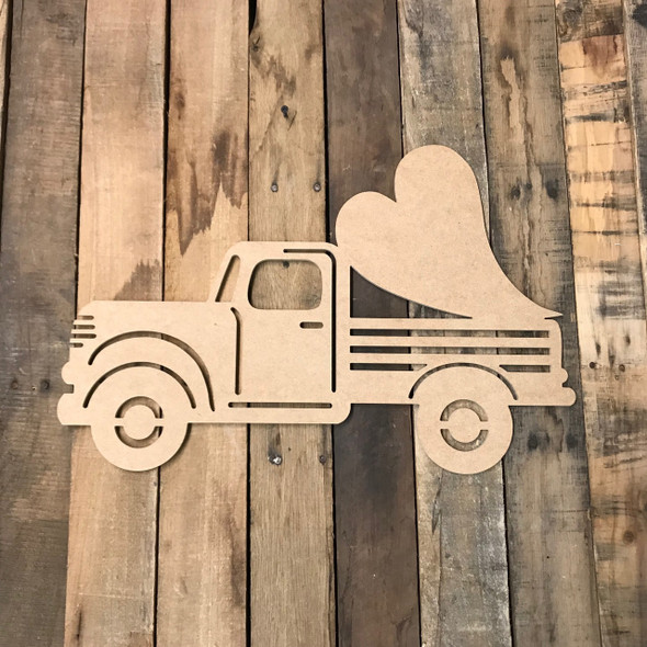 Truck with Valentine Long Heart Cutout Unfinished Wooden Cutout Craft