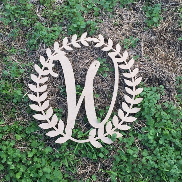 Wreath Monogram Letter Wooden Unfinished DIY Craft