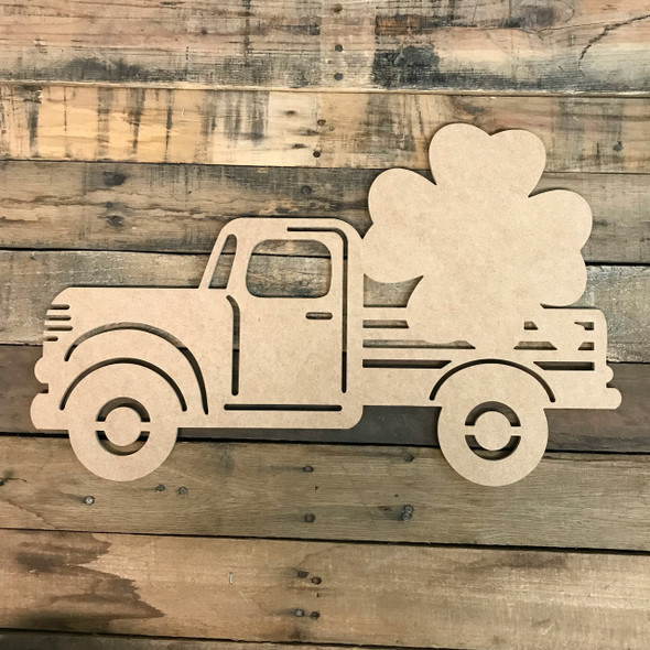 Truck with Clover Cutout Unfinished Wooden Cutout Craft