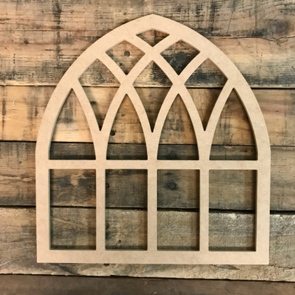 Unfinished Wood Cathedral Arch Window Decor,  Wooden Cutout Craft