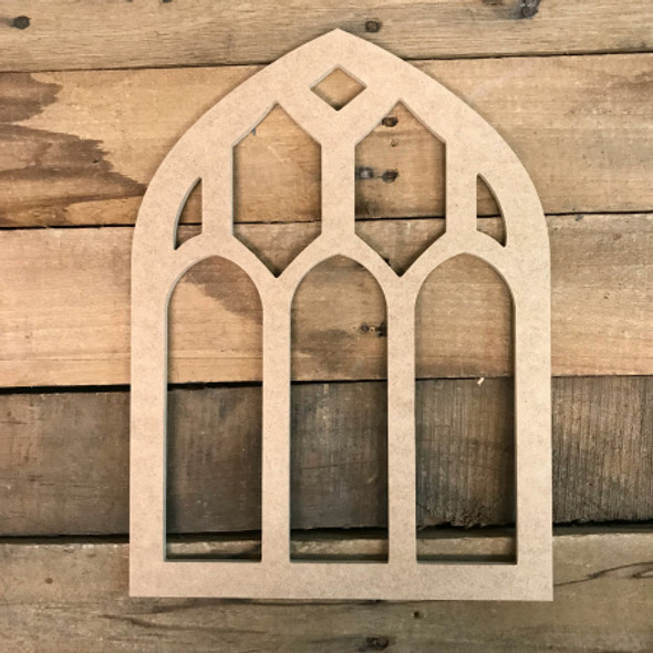 Unfinished Wooden Cathedral Arch Window Decor,  Wooden Cutout Craft