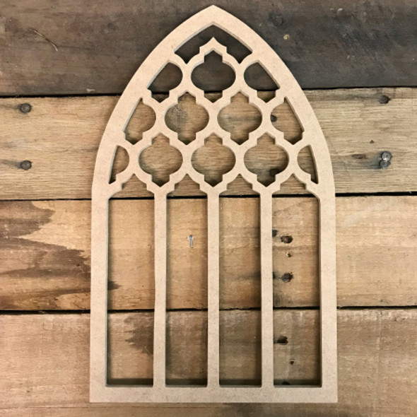 Unpainted Wooden Cathedral Arch Window Decor,  Wooden Cutout Craft