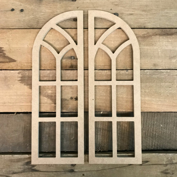 Wall Cathedral Arch Window Decor,  Unfinished Wooden Cutout Craft