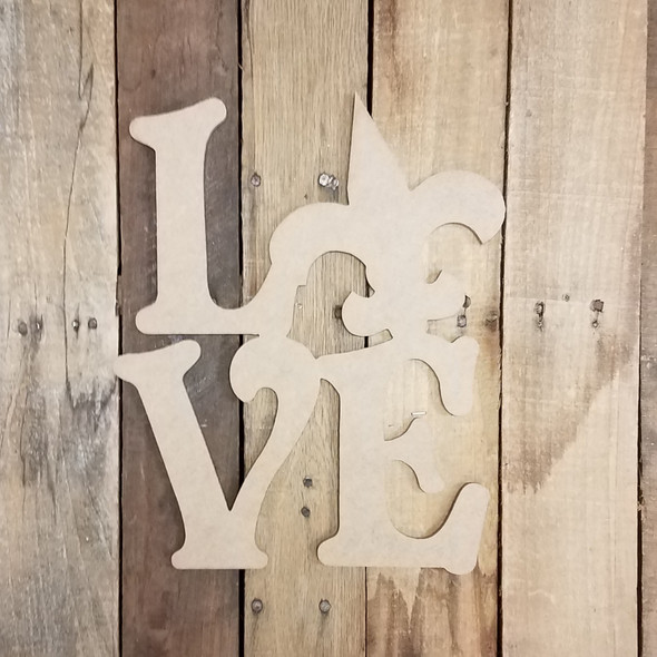 Love with Fleur De Lis Sign Wall Art Wooden DIY Craft MDF