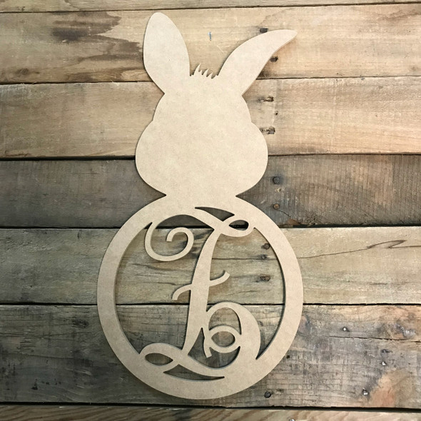 Wood Bunny Cursive Monogram Wall Decor Paintable Cutout
