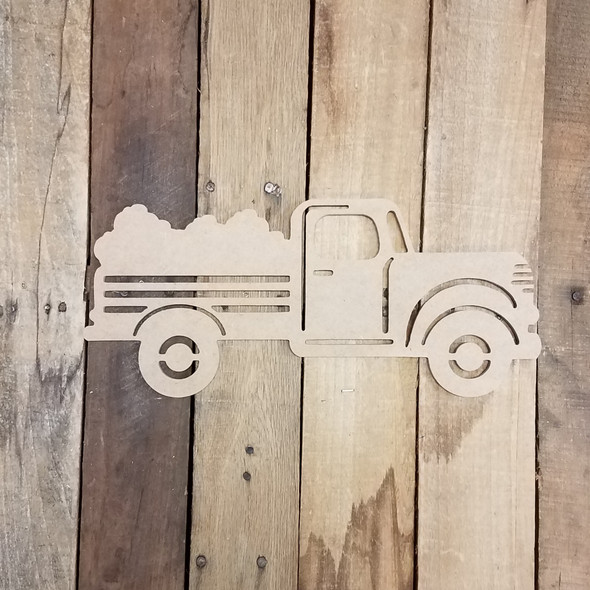 Cotton Truck Cutout, Unfinished Wooden DIY Craft