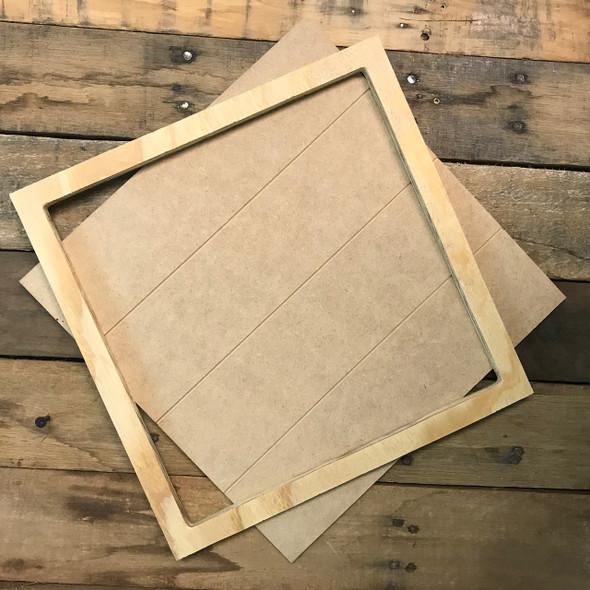 Unfinished 12 x 12 Shiplap Pine Framed Sign Kit