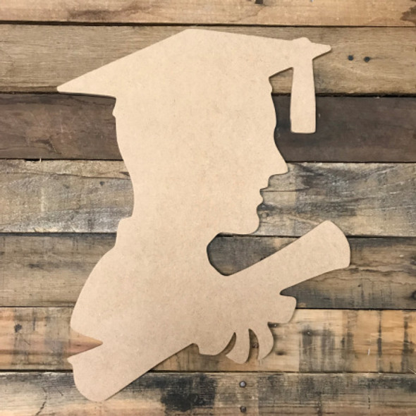 Boy Graduating,  Unfinished Wooden Cutout Craft