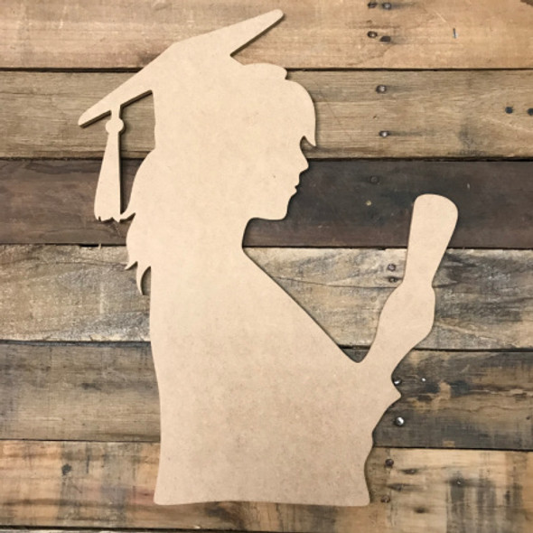 Girl with Diploma Graduating,  Unfinished Wooden Cutout Craft