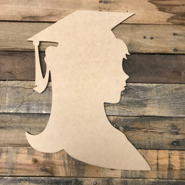 Girl Graduating,  Unfinished Wooden Cutout Craft