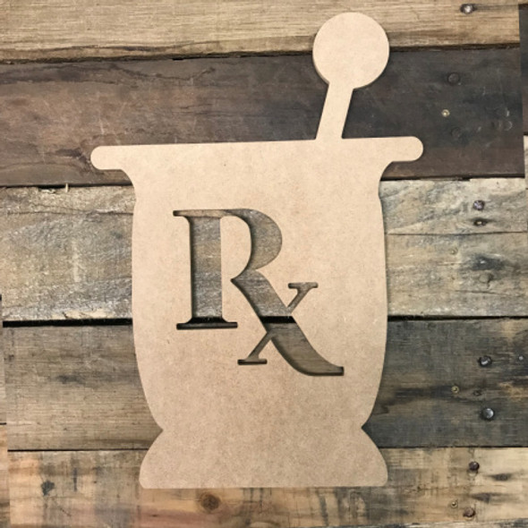 Medicine Mixer RX, Unfinished Wooden Cutout Craft