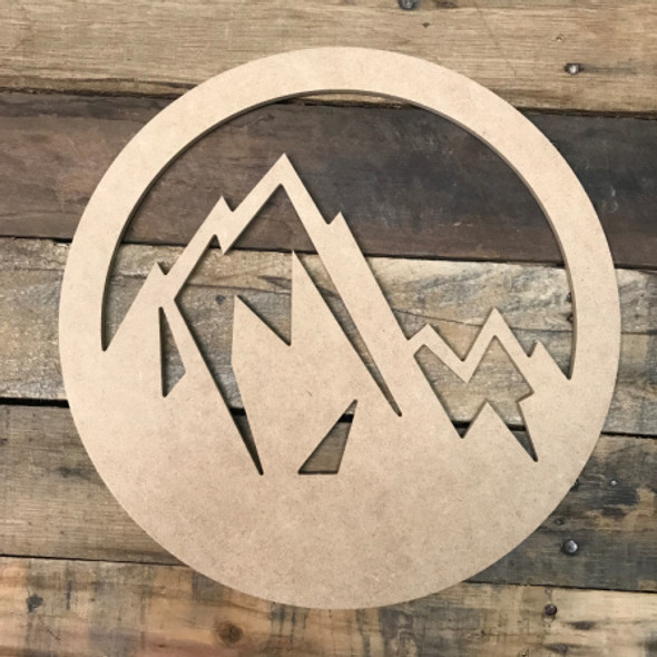 Mountains in Circle, Unfinished Wooden Cutout Craft