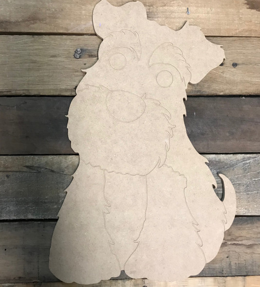 Schnauzer DIY, Paint by Line, Unfinished Wooden Cutout Craft