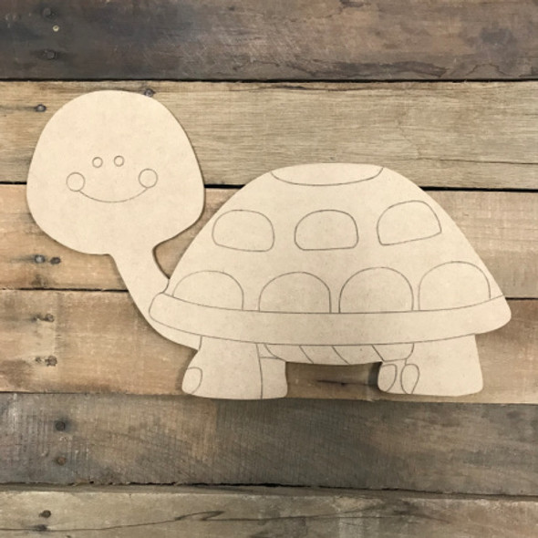 Turtle DIY, Unfinished Wooden Cutout Craft, Paint by Line