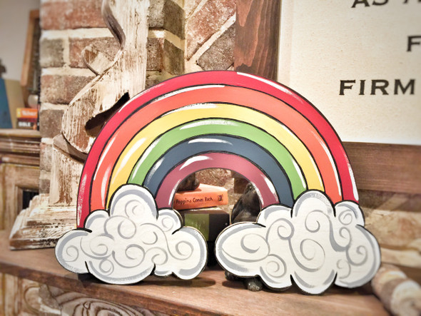 Rainbow DIY, Unfinished Wooden Cutout Craft, Paint by Line