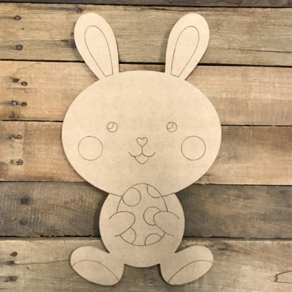 Easter Bunny with Small Egg DIY, Unfinished Wood, Paint by Line