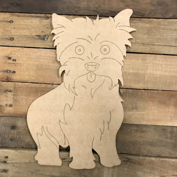Yorkie DIY, Unfinished Wooden Cutout Craft, Paint by Line