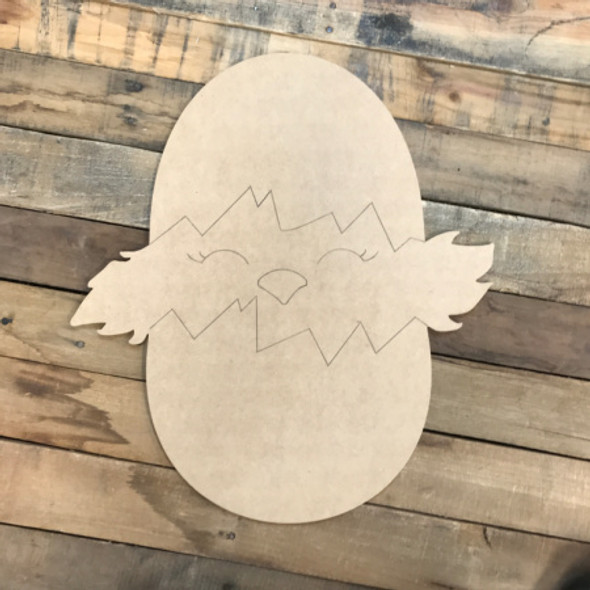 Chick in Egg DIY, Unfinished Wooden Cutout Craft, Paint by Line