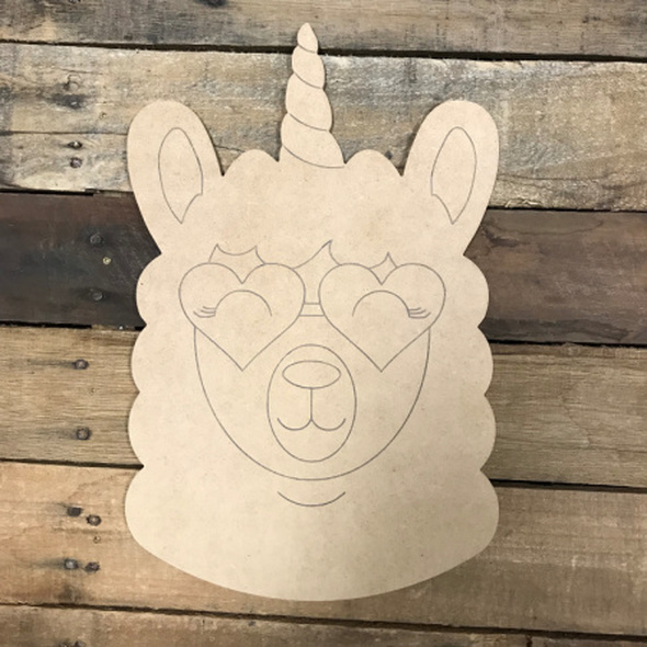 Llamacorn , Unfinished Wooden Cutout Craft, Paint by Line