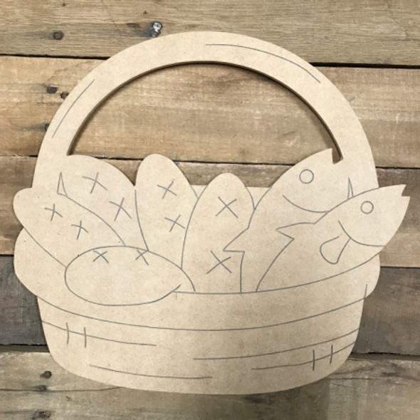 Loaf and Fish Basket, Unfinished Wooden Cutout Craft, Paint by Line
