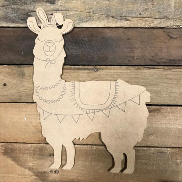 Bunny Llama, Unfinished Wood Shape, Paint by Line
