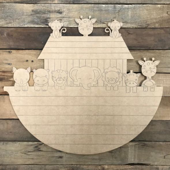 Noah's Ark, Unfinished Wood Shape, Paint by Line
