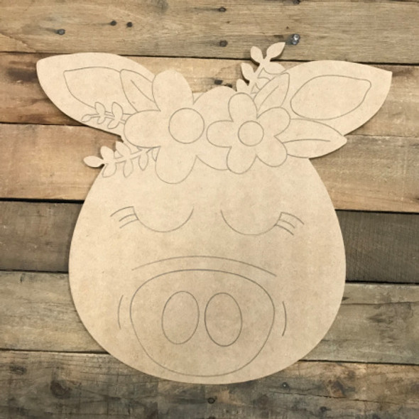 Piggy, Unfinished Wooden Cutout Craft, Paint by Line