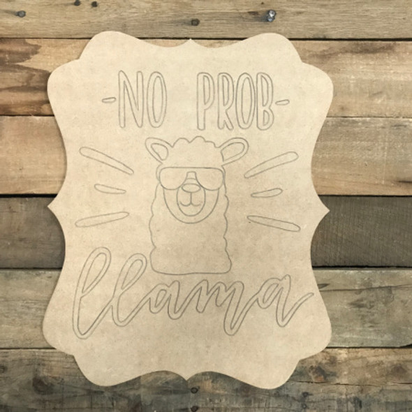 No Prob Llama, Unfinished Wooden Cutout Craft, Paint by Line